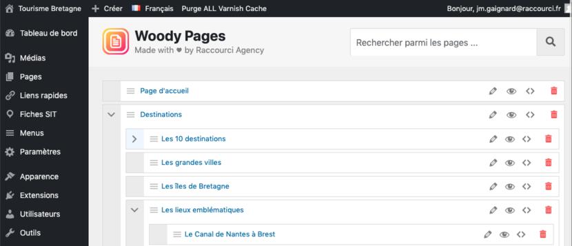 Arborescence WordPress avec WOODY